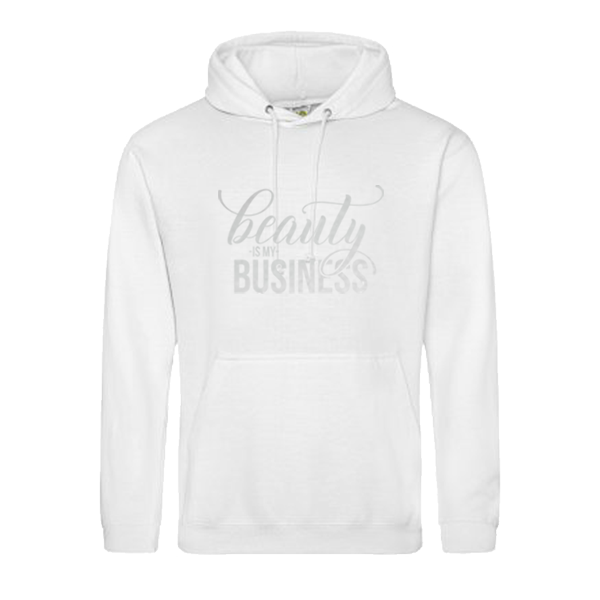 "White Hoodie with Silver Text ""Beauty Is My Business"""