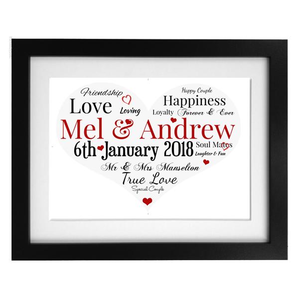 Word Art Print - Wedding Heart (1)
