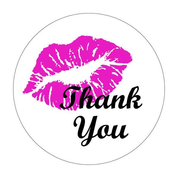 "Labels - 30mm Round Premium White Gloss ""Thank You with Lips"""