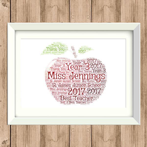 Word Art Print - Apple - TEACHERS GIFT